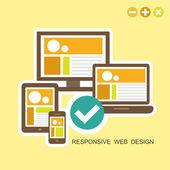 Flat design concept of responsive design — Stock Vector