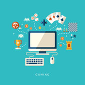Flat design icons concept of computer games — Stockvektor