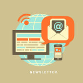 Flat design concept of newsletter — Stock Vector