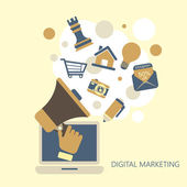 Flat design digital marketing concept — Stock vektor