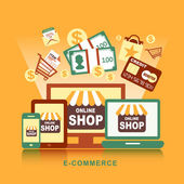 Plochý design koncept s ikonami symbolu myšlenky e-commerce a sh — Stock vektor