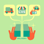 Flat design delivery concept icons set — Stock Vector