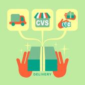 Conjunto de ícones do design plano entrega conceito — Vetorial Stock