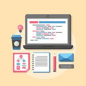 Plochý design koncept procesu kódování webové stránky — Stock vektor