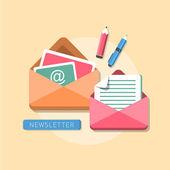 Flat design concept of newsletter — Stock Vector