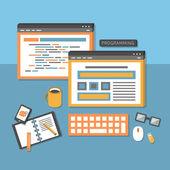 Flat design concept of programmer workflow — Vetorial Stock