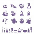 Women accessories icon set — Stock Vector