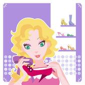 Mujer joven con zapatos de tacón rojos — Vector de stock