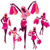 Silhouette of girls with bags — Vector de stock