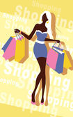 Background with fashion girl and shopping bags — Stock Vector