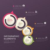 Grafico a torta astratta infografica — Vettoriale Stock
