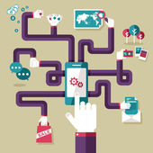 Flat design illustration concept for mobile apps — Stock Vector