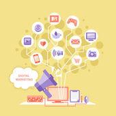Flat design digital marketing concept — Stock Vector