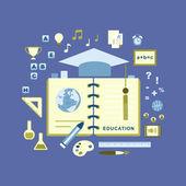 Płaska konstrukcja koncepcja edukacji — Wektor stockowy