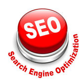 3d illustration of shiny seo (search engine optimization) button — Stock Vector