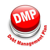 3d illustration of dmp debt management plan button — Stock Vector