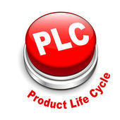 3d illustration of PLC ( Product Life cycle ) button — Vecteur