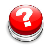 3d red button with question mark — Stock Vector