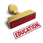 白地に赤いテキストでスタンプ教育 — ストックベクタ