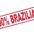 Stamp 100 percent brazilian with red text on white — Stock Vector #43544899