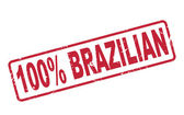 Stamp 100 percent brazilian with red text on white — Stock Vector