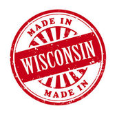 Made in Wisconsin grunge rubber stamp  — Stock Vector