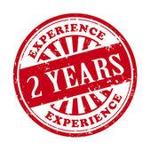 2 jaar ervaring grunge rubberstempel — Stockvector