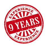 9 years experience grunge rubber stamp  — Stock Vector