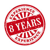 8 years experience grunge rubber stamp  — Stock Vector
