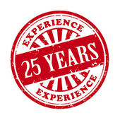 25 years experience grunge rubber stamp  — Stock Vector