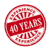 40 years experience grunge rubber stamp  — Stock Vector
