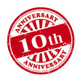 10th anniversary grunge rubber stamp  — Stock Vector