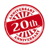 20th anniversary grunge rubber stamp  — Stock Vector