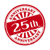 25th anniversary grunge rubber stamp  — Stock Vector