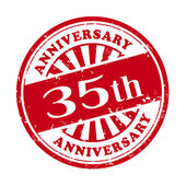 35th anniversary grunge rubber stamp  — Stock Vector
