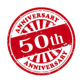 50th anniversary grunge rubber stamp  — Stock Vector