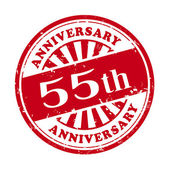 55th anniversary grunge rubber stamp  — Stock Vector