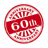 60th anniversary grunge rubber stamp  — Stock Vector
