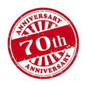 70th anniversary grunge rubber stamp  — Stock Vector