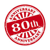 80th anniversary grunge rubber stamp  — Vettoriale Stock