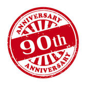 90th anniversary grunge rubber stamp  — Stock Vector