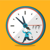 Flat design illustration concept of hurry up — 图库矢量图片