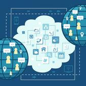 Flat design illustration concept of global communication — Stock Vector