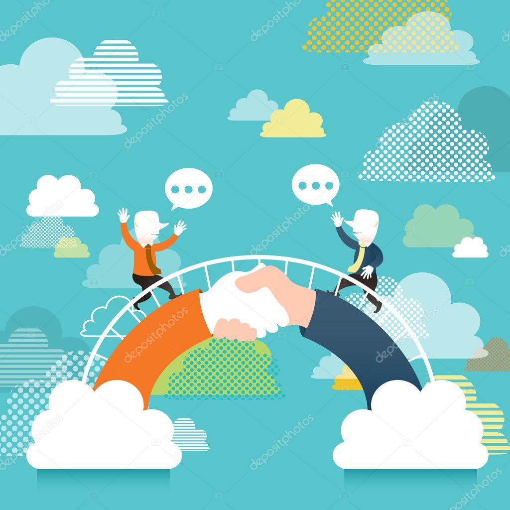 Flat design illustration concept of communication bridge ...