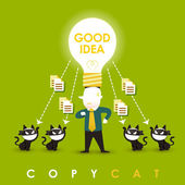Flat design illustration concept of copycat — Stock Vector