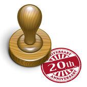 20e anniversaire grunge rubber stamp — Vecteur