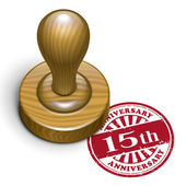 15th anniversary grunge rubber stamp  — Stock Vector
