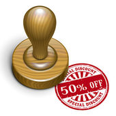 50 percent off grunge rubber stamp  — Wektor stockowy