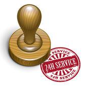 24h service grunge rubber stamp  — ストックベクタ