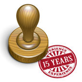 15 years experience grunge rubber stamp  — Stock Vector